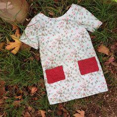 A line tunic dress green sprig rose dress boho by TwigandPosy