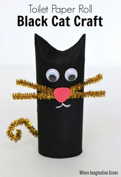 Toilet Paper Roll Black Cat Craft for Halloween is part of Kids Crafts Halloween Toilet Paper Rolls - A fun Halloween craft for kids that's not too spooky! Use toilet paper rolls and simple craft supplies with toddlers and preschoolers! Halloween Cat Crafts, Halloween Activities, Halloween Party, Preschool Halloween, Halloween Decorations, Halloween Crafts For Preschoolers, Halloween Makeup, Halloween Costumes, Halloween Labels