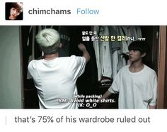 Lmao Jungkook's face when namjoon said to avoid white tshirts