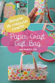 Mother's Day Gifts & Crafts : Paper Craft Gift Bag: A Simple Craft Idea These Paper Craft Gift Bags are a perfect simple craft for a multitude Arts And Crafts For Teens, Mothers Day Crafts For Kids, Crafts For Kids To Make, Crafts For Girls, Arts And Crafts Projects, Arts And Crafts Supplies, Easy Crafts, Kids Crafts, Fathersday Crafts