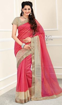 Accentuate your beautiful self with this lace work sari in salmon color chanderi and net. This attire is well designed with resham and sequins work. #silksarees #netsari #onlinesari