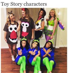 Group Costume - the Toy Story gang . try with characters from the new one coming out! Disney Halloween, Cute Group Halloween Costumes, Cute Costumes, Family Costumes, Halloween Outfits, Costume Ideas, Group Costumes For 4, Disney Group Costumes, Alien Halloween Costume