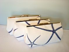 Free US Shipping Three Beach Wedding Bridal Bridesmaids Navy Blue White Cotton Linen Coastal Nautical Sea Star Clutches via Etsy