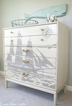 Don't curb your worn-out old dresser (or chest) or pass on a sturdy thrift store find. Instead, try these 25 ways to upcycle your dresser.: Add Large-Scale Graphics