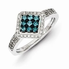 Sterling Silver White & Blue Diamond Square Ring