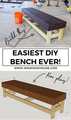 Easy DIY Bench - Build the easiest DIY bench ever! You just need a drill and a saw. Free plans by Jen Woodhouse Easy DIY Bench - Build the easiest DIY bench ever! You just need a drill and a saw. Free plans by Jen Woodhouse Diy Projects Plans, Wood Projects For Beginners, Easy Wood Projects, Easy Woodworking Projects, Woodworking Projects Diy, Popular Woodworking, Project Ideas, Woodworking Plans, Woodworking Articles