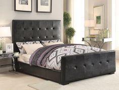 ACME Lorelei Eastern King Bed Black PU - 25227EK
