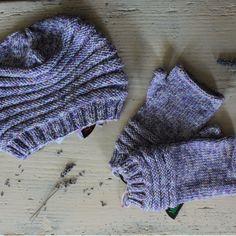 berretto + guanti lilla melange
