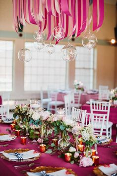 love this pink ribbon chandelier! photo by Aster & Olive / Real Wedding: Amy & Gregory's Modern Whimsical Cleveland Wedding