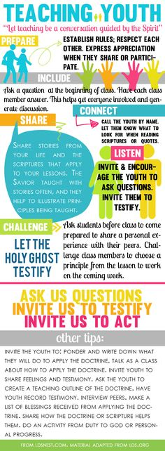 Tips for Teaching Youth infographic from LDSNEST.COM. Tips for teaching Come, Follow Me and engaging the youth.