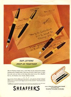 1942 Sheaffer's Fountain Pen print ad vintage by catchingcanaries, $9.00