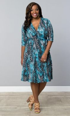 #plussize Essential Wrap Dress in Blue Snakeskin at Curvalicious Clothes Trendy Curvy | Plus Size Fashion | Fashionista | Shop online at www.curvaliciousclothes.com TAKE 15% OFF Use code: SVE15 at checkout