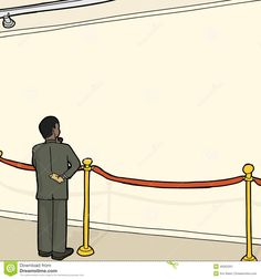 Man At Blank Wall And Stanchion Stock Illustration - Image: 49263201 Blank Walls, Illustration, Image, White Walls, Illustrations, Character Illustration
