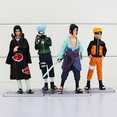 4Pcs/Set 17th Generation Naruto Kakashi Uchiha Sasuke Uzumaki Naruto Uchiha Itachi PVC Figure Toy Model Dolls 12CM Great Gift