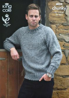 Sweater and Cardigan in King Cole Chunky Tweed - Discover more Patterns by King Cole at LoveKnitting. The world& largest range of knitting supplies - we stock patterns, yarn, needles and books from all of your favorite brands. Mens Knit Sweater Pattern, Jumper Patterns, Chunky Knitting Patterns, Easy Knitting, Knitting Designs, Knit Patterns, Men Sweater, King Cole, Grunge Look