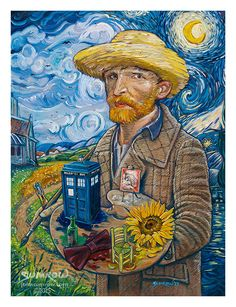 """Vincent Van Who?"" by John Sumrow. Vincent Van Gogh with his TARDIS and sonic screwdriver. [Sold at TeeFury] Doctor Who Shirts, Day Of The Shirt, Doctor Who Art, Tenth Doctor, Western Art, Vincent Van Gogh, Tardis, Nerdy, Colors"