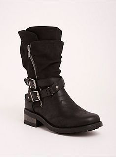 """<div><div>In case anyone doubts your badassery, give 'em a swift kick with these moto boots. Distressed black faux leather has vintage appeal, on a calf-length pair of boots with majorly edgy details - from the slouch silhouette, to the wraparound double straps, to the chunky silver tone hardware.</div></div><div><br></div><div>Calf fit by size:</div><div>6 - fits up to 13.78""""</div><div>6..."""