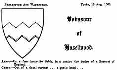 A representation of the arms of Vavasour of Haselwood, from Dugdale's Visitation of Yorkshire (Page 51).
