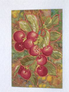CHERRIES  Art Quilt Fabric Appliqued  4 x 6 art quilt