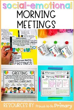 Incorporate social-emotional learning into your day with this morning meeting resource for Kindergarten, first grade, second grade, special education, and counselors. It is filled with ideas to create a daily meeting schedule and routine in your classroom. There are slides to project, cards to print, meeting templates, and posters to teach expectations. It includes editable greetings, sharing questions, activities, and messages. #morningmeeting #socialemotionallearning #responsiveclassroom Respect Activities, Teaching Respect, Kindness Activities, Learning Activities, Teaching Kids, Activities For Kids, Teaching Tools, Teacher Freebies, Teacher Tips
