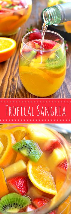 This Tropical Sangria combines sweet white wine with all things tropical! Perfect for summer - it's like a mini vacation right in your own backyard!: