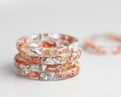 Resin Stacking Ring Gold and Silver Flakes Thin Small Ring OOAK rose gold boho minimalist jewelry
