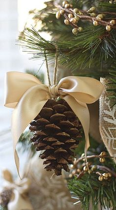ornament tutorial.... Pomme de pin idee idea deco decoration for Christmas pour…