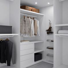 Plain white closet with medium gray carpeting