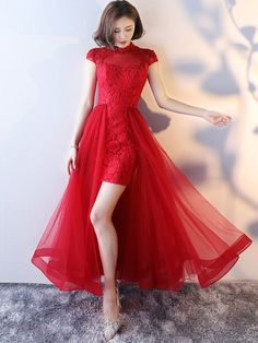 Custom Made Lace High Neck Qipao / Cheongsam Dress with Detachable Skirt
