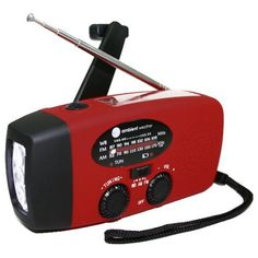 Ambient Weather Compact Emergency Solar Hand Crank AM/FM/NOAA Weather Radio, Flashlight, Smart Phone Charger with Cables