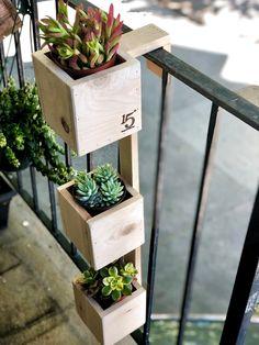 Balcony Planters, Small Balcony Garden, Small Balcony Decor, Diy Planters, Balcony Railing, Small Balconies, Balcony Ideas, Concrete Planters, Balcony Flowers