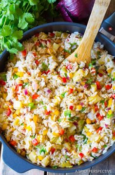 A Spicy Perspective - Vibrant Caribbean Confetti Rice Recipe. All the flavors of the island in one dish! Carribean Food, Caribbean Recipes, Caribbean Rice, Caribbean Party, Vegetarian Recipes, Cooking Recipes, Healthy Recipes, Rice Salad Recipes, Yellow Rice Recipes