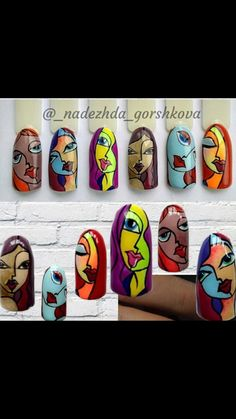 Nail Manicure, Pedicure, Picasso Nails, Painted Rocks, Hand Painted, Rock Painting Ideas Easy, Pebble Painting, Nail Decorations, Yard Art
