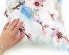 Watercolor Pillow Case Blue Floral Throw Pillow Cover