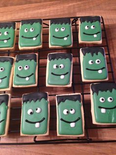 Frankensteins for school Halloween bake sale, rectangle shape would be easy to mass produce...