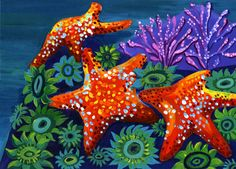 painting of sea stars, anemone, and coral underwater Sea Life Art, Sea Art, Watercolor Paintings For Beginners, Watercolor Art, Tatoo Manga, Cute Small Animals, Underwater Painting, Dragonfly Art, Shadow Art