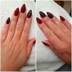Nail matte Burgund nails Glitter