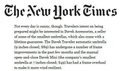 Davek in The New York Times. For travelers intent on being prepared Small Umbrella, Automatic Umbrella, York, Times, Travel, Viajes, Destinations, Traveling, Trips