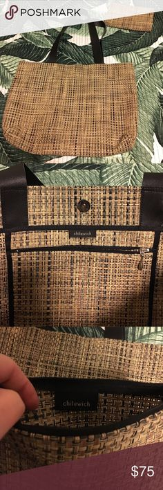Chilewich large tote and zippered small bag Great condition! Great neutral colors! Black leather straps in very good condition showing minimal wear. Bag itself looks new. Perfect durable tote. Chilewich Bags Totes