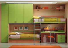 This is a fun take on bunk beds that includes a work space found at http://www.treehugger.com/files/2009/02/7-ways-to-get-rid-of-the-bed.php