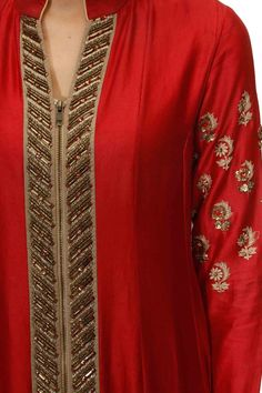 Red embroidered zipper kalidaar set available only at Pernia's Pop Up Shop.