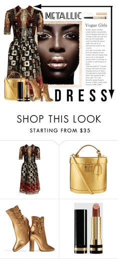 """""""Metallic Dress"""" by conch-lady ❤ liked on Polyvore featuring Oscar de la Renta, Mark Cross, Gianvito Rossi, Gucci, By Terry, metallicdress and AfricanQueen"""