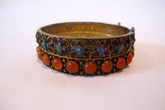 1920-1940 chinese export carnelian & enamel Bangle bracelet.