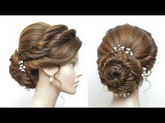 Bridal Bun Hairstyle For Long Hair. Updo Tutorial New Bun Hairstyle For Girls. Braided Prom Hair, Prom Hair Updo, Braided Updo, Fishtail Bun, Box Braids Hairstyles, Bride Hairstyles, Teenage Hairstyles, Updo Tutorial, Bridal Hair Buns