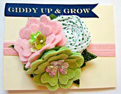 Felt Flower Headband  St Patricks Day Shamrock by giddyupandgrow