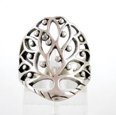 Large Celtic Tree of Life Ring in Sterling Silver, size 7, #