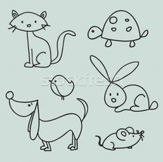 Stock photo: Hand drawn cartoon pets