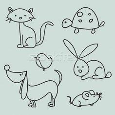 Stock photo: Hand drawn cartoon pets