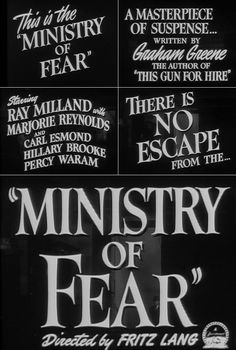 Ministry of Fear (1944) trailer typography