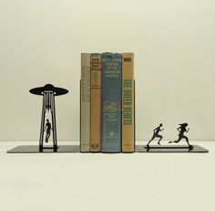 UFO Abduction Metal Art Bookends  Free USA by KnobCreekMetalArts